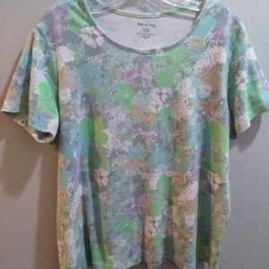 White Stag Pastel Floral Short Sleeve Tee - Sz XL